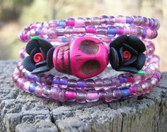 The Original Day of the Dead Wrap Around Bracelet Frida Inspired 5 1/2 loops NEW