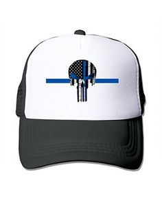 7ab00fd284aac Black Cool Thin Blue Line The Punisher Logo1 Trucker Mesh Baseball Cap Hat  Líneas Azules Delgadas