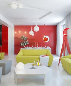 Colorful and bright interior, combining only two colors - red and yellow - amidst clean white and fleeting bases of black and grey.