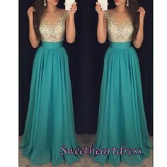 Simple turquoise crystal scoop floor length sequins prom dresses for teens