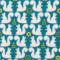 turquoise squirrel flower pattern fabric from Japan  1