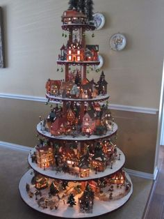 61 Ideas For Diy Christmas Village Display Stand Christmas Tree Village Display, Halloween Village Display, Gingerbread Christmas Tree, Lemax Christmas Village, Wood Christmas Tree, Christmas Villages, Christmas Diy, Classy Christmas, Disney Christmas
