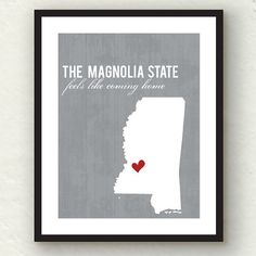 Clearance Sale  Mississippi State  State print by PaperFinchDesign, $10.00