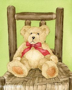 Items similar to Teddy Bear No 2 - archival watercolor print by Tracy Lizotte on Etsy Teddy Bear Cartoon, My Teddy Bear, Cute Teddy Bears, Tatty Teddy, Bear Pictures, Cute Pictures, Illustration D'ours, Photo Ours, Art D'ours