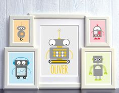 Robot Nursery Art Set  Personalized 11x14 2 by HowIWonderShop, $48.95