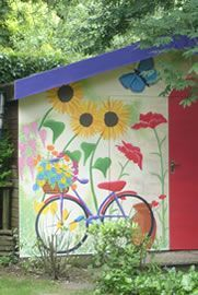 There are many ways to use your garden shed other than for gardening. Painted Shed, Painted Fences, Garden Mural, Garden Fence Art, Garden Sheds, Renovation Facade, Yard Art, Wall Murals, Mural Art