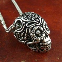 """Day of the Dead Necklace Antique Silver Sugar Skull Pendant on 18"""" Antique Silver Chain  Etsy"""