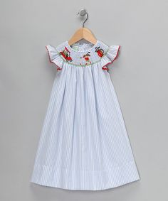 Take a look at this Light Blue Stripe Angel-Sleeve Dress - Infant, Toddler & Girls  by Candyland on #zulily today!