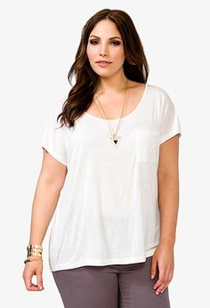 Forever 21+ - A knit high-low top featuring a lace chest pocket and gathered back panel. Round neckline. Short sleeves. Semi-sheer. Unlined. Lightweight.