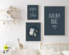"Space nursery wall art perfect for a modern, simple space themed nursery decór. Cute art for baby boy room. ""Dream big little one"" kids bedroom prints. ""Reach for the stars"" playroom decor art. Set of 3 children's printables. Nursery Drawings, Nursery Artwork, Nursery Paintings, Kids Room Wall Art, Nursery Wall Decor, Star Themed Nursery, Boy Nursery Themes, Star Nursery, Kids Bedroom Boys"