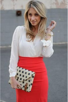 Bright working skirt, and also love the polkadot clutch