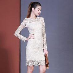 mode herfst 2014 mode sexy slanke heup uitsparing kant met lange mouwen Slim een stuk jurk vrouwelijke – EUR € 41.26