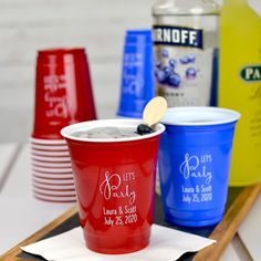 A smaller version of the classic Solo cup, 12 ounce disposable plastic solo cups personalized with choice of wedding design and up to 3 lines of custom print on front and back are just the right size for serving mixed drinks, punch and juice at your wedding drink station.
