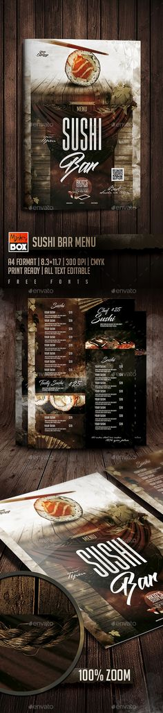 Menu Templates from GraphicRiver Food Menu Template, Restaurant Menu Template, Restaurant Flyer, Restaurant Menu Design, Restaurant Concept, Menu Templates, Print Templates, Japanese Restaurant Menu, Japanese Menu