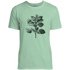 Mintage Wild Nettle Illustration Mens Fine Jersey T-Shirt (Mint)