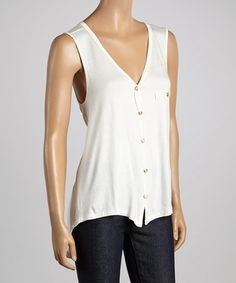 Loving this Ivory Hi-Low Button-Up Top on #zulily! #zulilyfinds