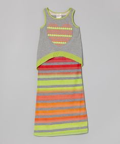 Look what I found on #zulily! Freckles + Kitty Tangerine & Lime Heart Overlay Maxi Dress - Girls by Freckles + Kitty #zulilyfinds