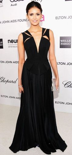 Nina Dobrev In J. Mendel – At The Elton John's AIDS Foundation Academy Awards Viewing Party 2012.