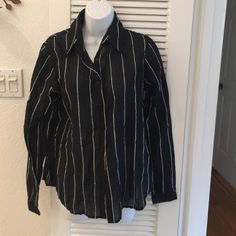 """Anne Fontaine blouse, Size 4 (large) Black with white stripe threads, size 4. Measures 14"""" shoulder to shoulder, sleeve length is 25"""" Anne Fontaine Tops Button Down Shirts"""