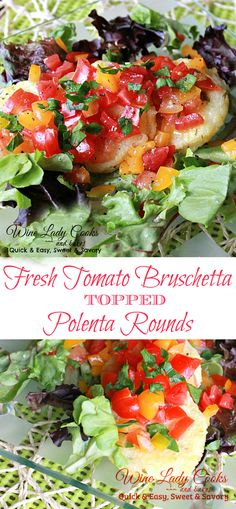 Fresh tomato bruschetta topped polenta rounds is a quick, easy and delicious vegetarian appetizer or salad recipe to serve anytime, any season & gameday Vegetarian Appetizers, Appetizers For Party, Appetizer Recipes, Vegetarian Recipes, Snack Recipes, Healthy Recipes, Snacks, Side Dishes Easy, Vegetable Side Dishes