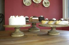 This beautiful Old World Rustic Cake Stand is perfect for you wedding Cake.   Pick either a 16 inches, 18 inches or 20 inches wide platform top. Smaller tops in other listings. All bases for these heights are is 7 inches wide at the bottom and 5 1/2: tall (6 1/2 inches with top attached.) Choose from Aged wood look with brown or grey under tone. It also comes in dark walnut, antiqued white, antiqued pink, or antiqued blue. Many cake stands will not support the weight of a wedding ca...