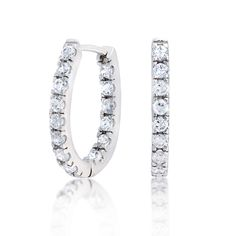 Bling Jewelry Pave CZ Thin Inside Out Sterling Silver Huggie Hoop Earrings MVRsfA