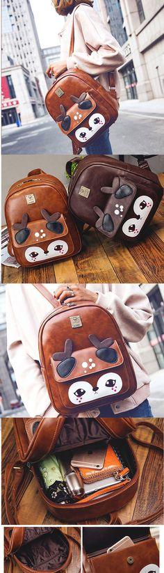 Fashion Cute Cartoon Shy Deer PU Girl's College Backpack School Bag