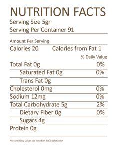 Nutrition Facts Coconut Sugar Pure Palm Organic Coconut Sugar Ingredient Organic Coconut Suga Nutrition Labels Organic Coconut Sugar Organic Sweetener
