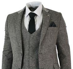 Mens Grey 3 Piece Herringbone Tweed Suit Vintage Retro Slim Fit Smart Formal