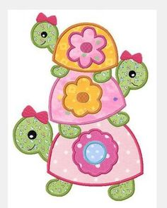 Tortue Girly turtle applique machine embroidery design by FunStitch, Applique Templates, Applique Patterns, Applique Quilts, Applique Designs, Embroidery Applique, Machine Embroidery Designs, Quilt Patterns, Sewing Crafts, Sewing Projects