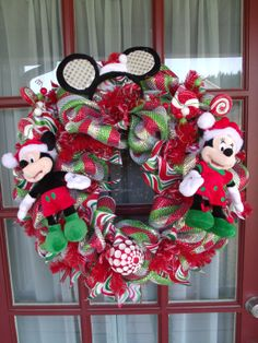 christmas mickey and minnie mouse deco mesh door by crazyboutdeco 9900