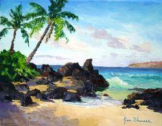 "Painting ""Secret Beach"" by plein air artist Jan Shaner."