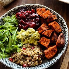 Sweet potato quinoa power bowl from @blissfulbasil! .  Ingredients For the Roasted Sweet Potatoes 2 large sweet potatoes, peeled 2-3 tablespoons extra-virgin olive oil 1 tablespoon ground cinnamon 1 tablespoon smoked paprika Sea salt, to taste  For the Quinoa 1 cup white quinoa, thoroughly rinsed 2 cups water ⅓ cup fresh chives, chopped ¾ cup pomegranate seeds ¼ cup shelled hemp seeds 2 tablespoons balsamic vinegar 1-2 tablespoons tamari or soy sauce  For the Spiced Cranberry Sauce 12…