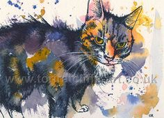 A painting of my old 19 year old cat, Edward. A combination of Watercolour and fineliner was used to create this expressive and vibrant style. For more of my animal artwork please visit www.toriratcliffe-art.co.uk or find me on facebook www.facebook.com/toriratcliffeart - See you there!