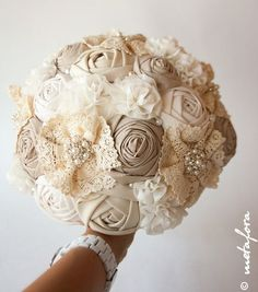 Vintage fabric and lace bouquet - great non-floral alternative for the bride #wedding #bouquet #vintage #vintagewedding #diywedding