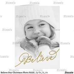 Believe Star Christmas Photo Holiday Greeting Card