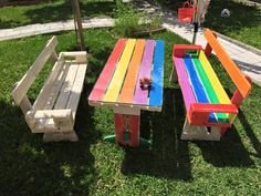 Rainbow Pallet Picnic Table and Bench | 99 Pallets