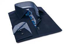#Navy Shirt #Checkered #Houndstooth Lining  $84.90 #frenchflair #mensfashion