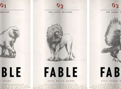 """""""Tulbaugh Mountain Vineyards in South Africa, Fable is a new line of wines based on the notion that wine is about storytelling. Each wine in the collection is inspired by a different South African fable; Bobbajean, The Lion's Whisker, and The Jackal Bird. Our design takes a minimal, journalistic approach, featuring illustrations of each protagonist accompanied by their respective tale.""""       Designed by Adam & Co, Bonton, MA"""
