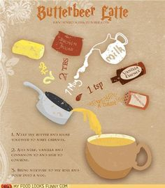 Butterbeer Latte..my sister loves to make butterbeer but im excited to try it as a latte @Candice Gidion-Carroll