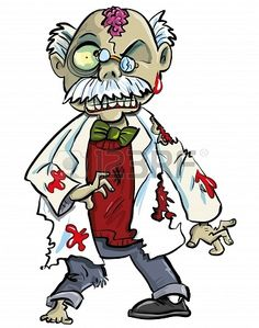 Cartoon zombie scientist with brains showing  Isolated on white Stock Photo