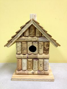 Wine cork and wood birdhouse bird house by LesliesCorkCreations, $34.99