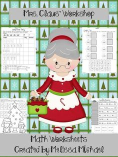 Free!  These 11 Math worksheets are great for addition facts, patterns, counting and graphs.  Cute Christmas theme!