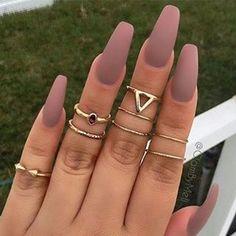 ♡♡ #nails#longnails#nudecolor#nudenails#ring#beauty#mat#matcolor#matnails#makeup