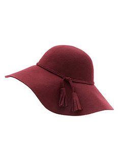 Burgundy Wool Tassel Floppy Hat | New Look