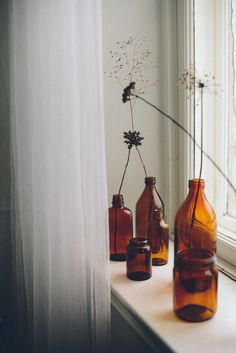 Amber glass bottles.