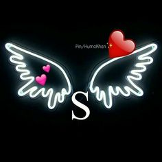 S with wings for me💫💫💫Suad Tattoo Alphabet, Alphabet Tattoo Designs, Alphabet Letters Design, Alphabet Images, S Alphabet, Cute Wallpaper For Phone, Emoji Wallpaper, Love Wallpaper, Black Wallpaper