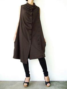NO.67 Dark Brown Cotton-Blend Jersey Front-Effect by JoozieCotton