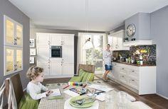 Moderne #Landhausküche in hellen Farben von #Nobilia erhältlich bei #Höffner