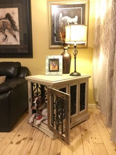 Custom dog kennel / solid wood / end table / side table / functional furniture / rustic design / shabby chic www.facebook.com/inthedoghousekenneldesigns